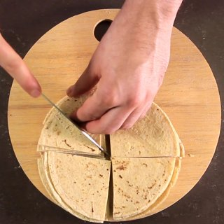 Cut each room in two.How to make Totopos for Chilaquiles